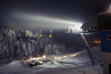 Ski lifts (gondolas) at night