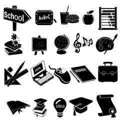 "School icon set - ""white"" is transparent fits to any background"