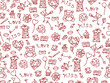 Seamless pattern of love symbols.