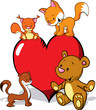 cute animals cartoon with valentines heart