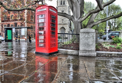Rainy London - red telephone booth