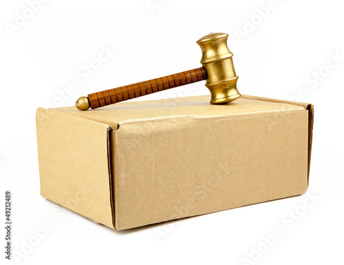 auction hammer on box