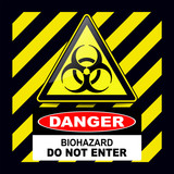 Biohazard, danger sign warning with stripes background