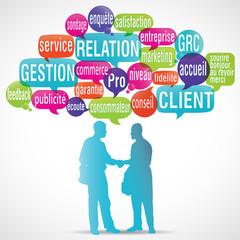 nuage de mots bulles silhouette : gestion relation client