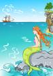 beautiful mermaid sitting on a rock, watching the ship