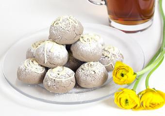 Tea and Homemade cookies with white chocolate