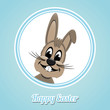 happy easter brown bunny on blue background