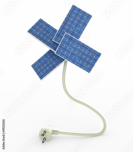 four solar panels like a flower over energy cable