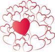 Bunte Herzen im Kreis