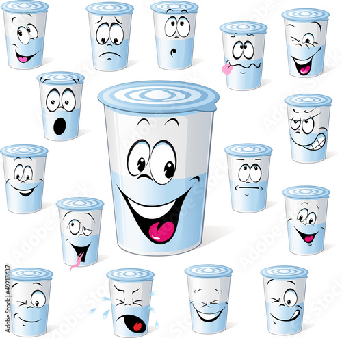 dairy product in plastic cup - funny cartoon