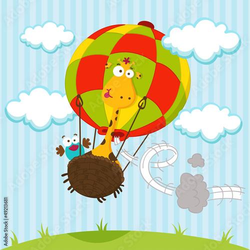 żyrafa i ptak w balonie