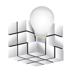 cube with idea symbol