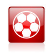 soccer red square glossy web icon on white background