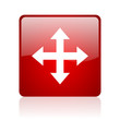 arrows red square glossy web icon on white background