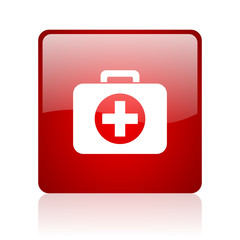 first aid kit red square glossy web icon on white background