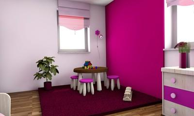 3D pinkes Kinderzimmer
