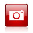 camera red square glossy web icon on white background