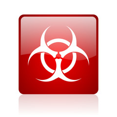 virus red square glossy web icon on white background