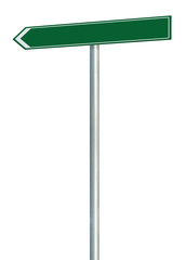 Left road route direction pointer this way sign green isolated