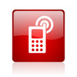 cellphone red square glossy web icon on white background