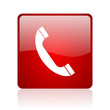 phone red square glossy web icon on white background