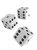 Three white dice falling