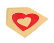 close-up of brown paper envelope with red heart