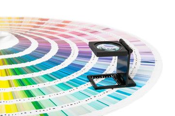 Magnifier and pantone guide