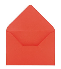 Open red envelope on white background