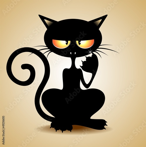 Gatto Nero Sornione - Cattish Black Cat Clip Art Cartoon