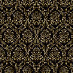 Seamless retro wallpaper in victorian style: gold on black.
