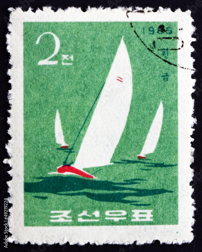 Postage stamp North Korea 1965 Finn Class, Yacht