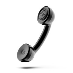 A black telephone handset