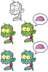 Zombie Head Cartoon Mascot Characters- Collection