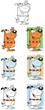 Happy Dog Waiving Cartoon Mascot Characters-Collection