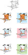 Dog With Shovel and Bone Cartoon Mascot Characters-Collection