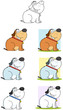 Fat Dog Sitting Cartoon Mascot Characters- Collection