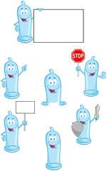Condoms Cartoon Mascot Characters- Collection