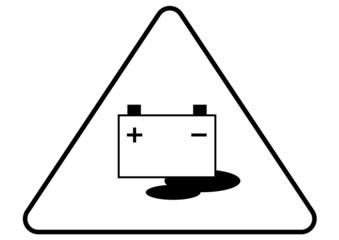 Attention - danger battery acid sign