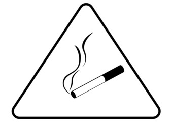 Attention danger cigarette smoke sign