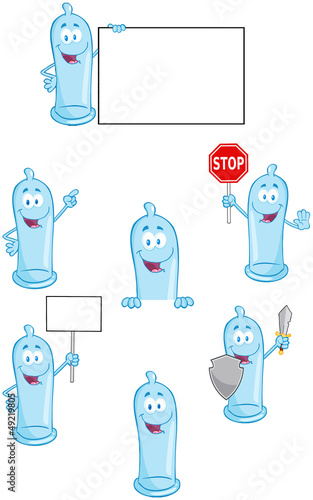 Condoms Cartoon Mascot Characters- Collection