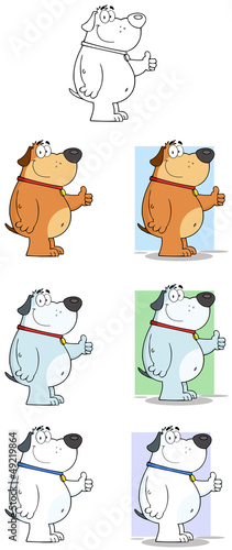 Dog Giving Thumbs up Cartoon Mascot Characters. Collection