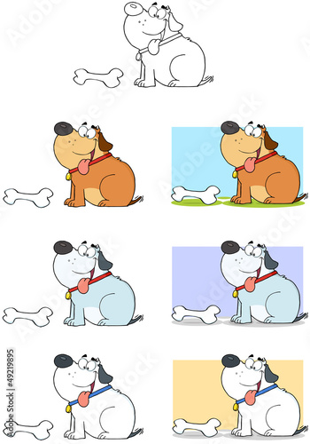Dog With Bone Cartoon Mascot Characters-Collection