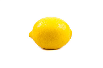 yellow ripe lemon over the white background