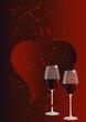 Rotweingläser und Herz