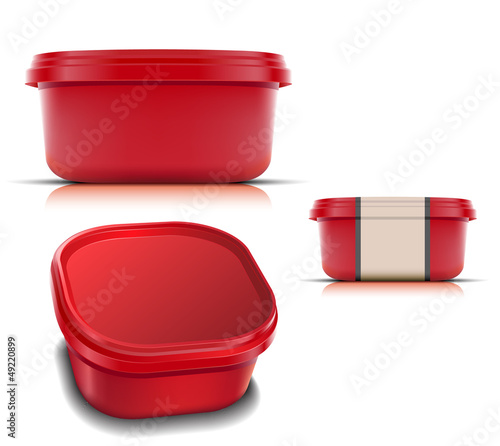 Plastic container for foods.