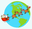 Santa And Reindeer Flying Over Earth