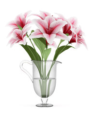 bouquet of pink lilies in vase isolated on white background