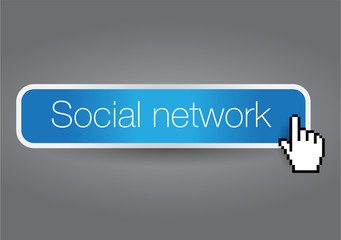 Social network button blue