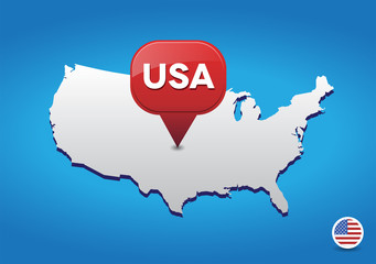 Map of USA with pointer